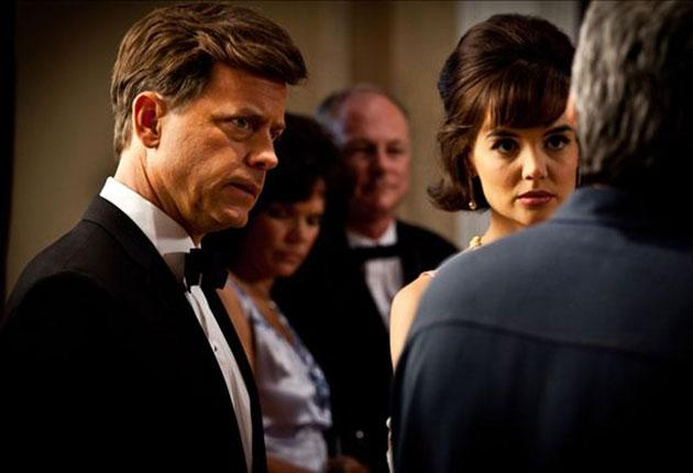 Greg Kinnear as JFK and Katie Holmes as Jackie, in a scene from 'The Kennedys'