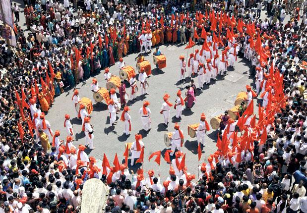 """The celebrations continue in Mumbai. After India's World Cup victory in the country's commercial capital on Saturday, attentions turned yesterday to """"Gudi Padwa"""" or the Maharashtrian New Year. Surrounded by onlookers on the perpetually crowded streets, th"""