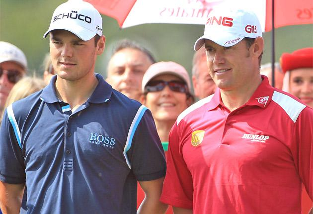 Lee Westwood (right) plays in the same group as the world No 1 Martin Kaymer