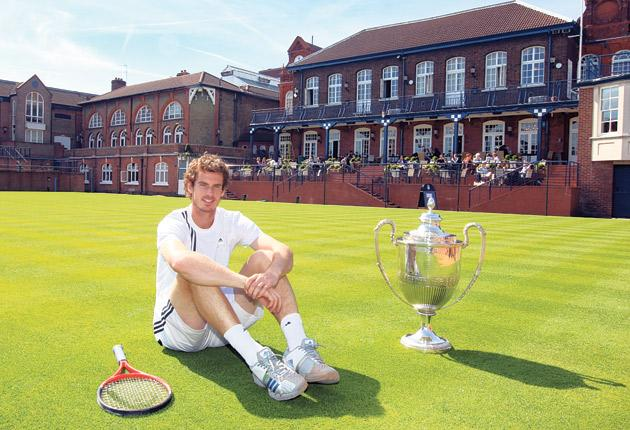 Andy Murray at the Queen's Club yesterday after announcing his participation in this year's pre-Wimbledon Aegon Championships
