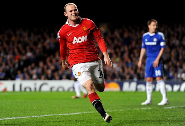 Wayne Rooney's first-half goal gave Manchester United the upper hand in their Champions League last eight, first leg tie against Chelsea