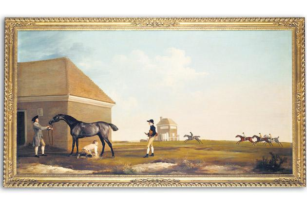 George Stubbs's Gimcrack on Newmarket Heath, with a Trainer, a Stable-Lad, and a Jockey, depicting one of the most popular racehorses of the 18th century, goes up for auction this summer