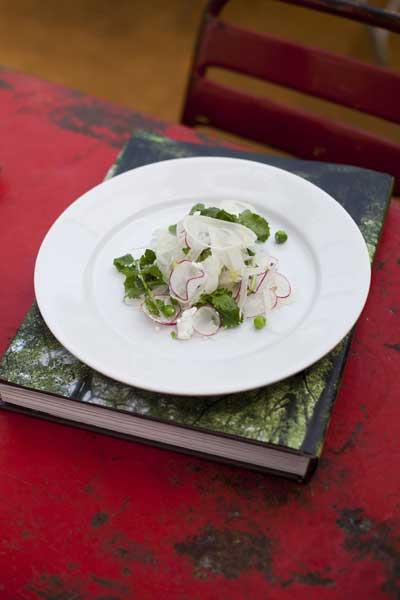 Fennel, radish, pea and mozzarella salad
