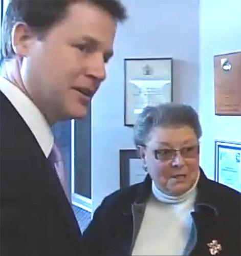 A ruffled Nick Clegg looks away during a chat with an unimpressed Mrs Duffy
