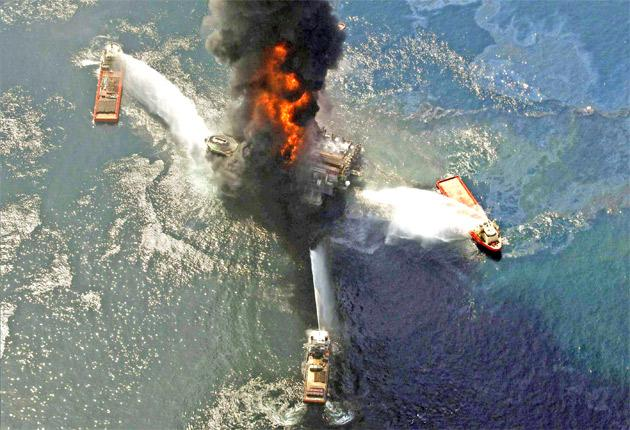 The Deepwater Horizon oil rig burning after last year's explosion in the Gulf of Mexico