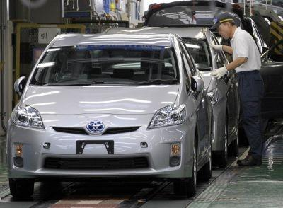 The assembly line at Toyota Motors' Tsutsumi factory in Toyota, Aichi prefecture
