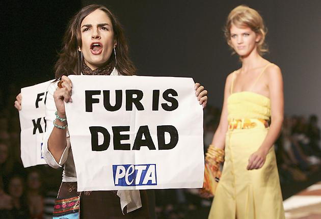 Flashback: Anti-fur protestors from Peta are seen on the runway at the Julien MacDonald fashion show as part of London Fashion Week in September 2006