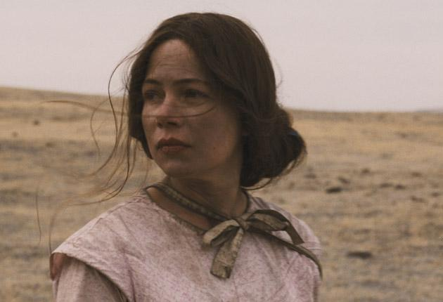 The implacable moonface of Emily, played by Michelle Williams marks her out as a strong character, even under a bonnet