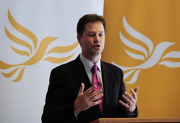 Nick Clegg addressing party members in Sheffield yesterday