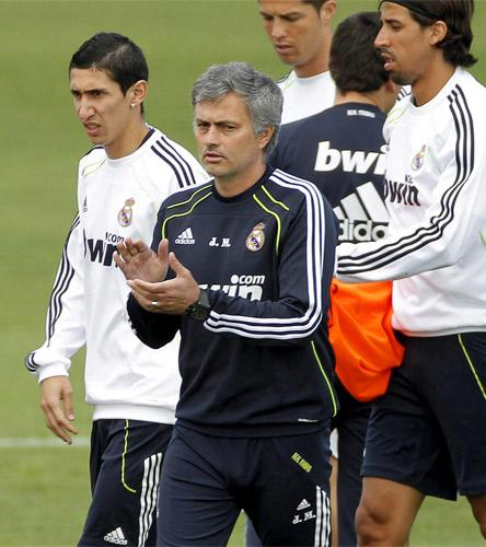 Jose Mourinho leads a training session in Madrid yesterday