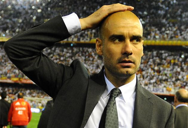 Pep Guardiola has called on his players to 'run more' against Osasuna tonight if they are 'sad or angry' after losing the Copa del Rey final