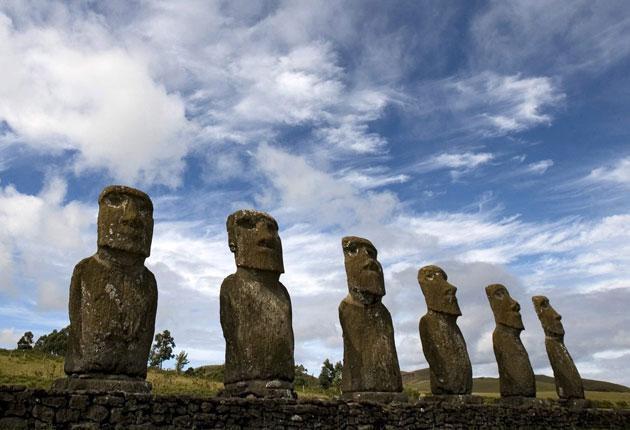 The moai, giant stone statues that line the Easter Island coast