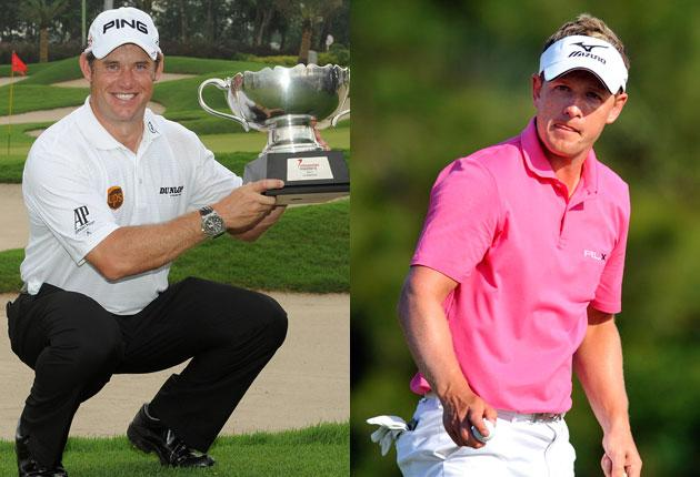 England's Lee Westwood shows off the Indonesian Masters trophy yesterday