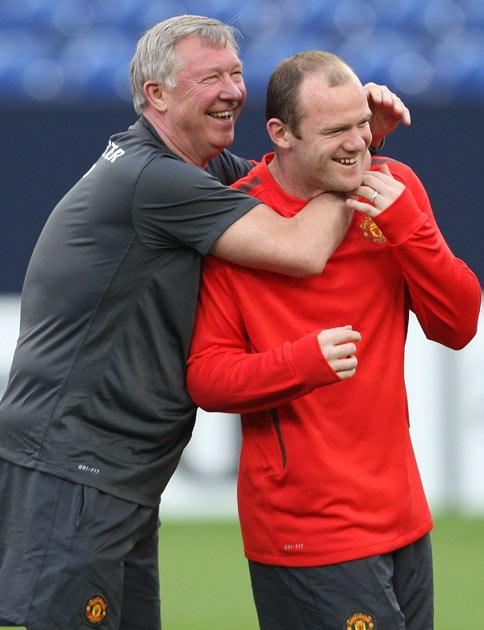 Ferguson and Rooney train ahead of tonight's game