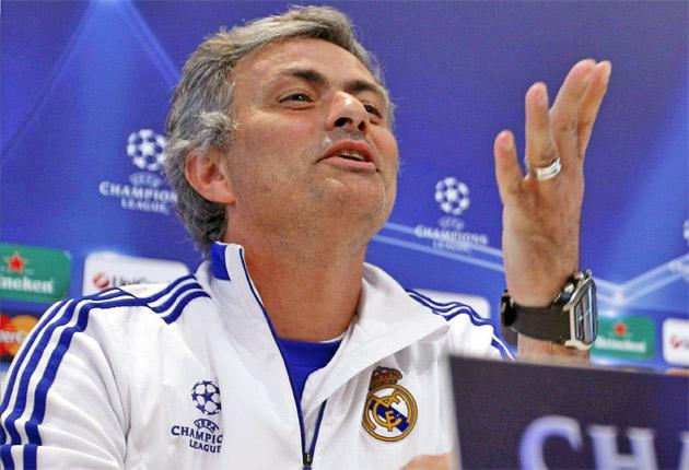 The Real coach, Jose Mourinho, holds court in Madrid yesterday
