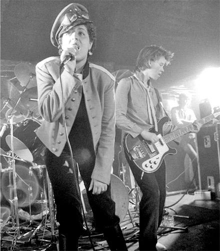 Poly Styrene with X-ray Spex on stage in their 1970s heyday