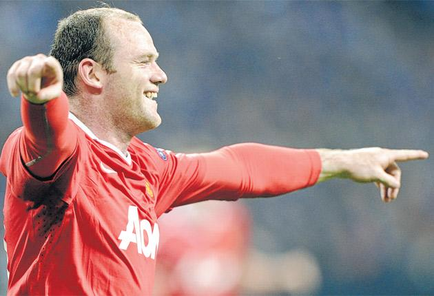 Wayne Rooney after scoring Manchester United's second goal against Schalke last night