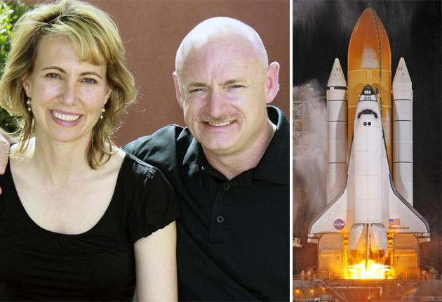 Gabrielle Giffords with her husband, Nasa astronaut Mark Kelly; he will lead the crew of the 'Endeavour' on its final voyage into space this week