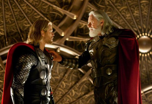 Myth Hit: Chris Hemsworth plays a not very Norse Thor, left, who's exiled by Anthony Hopkins as Odin