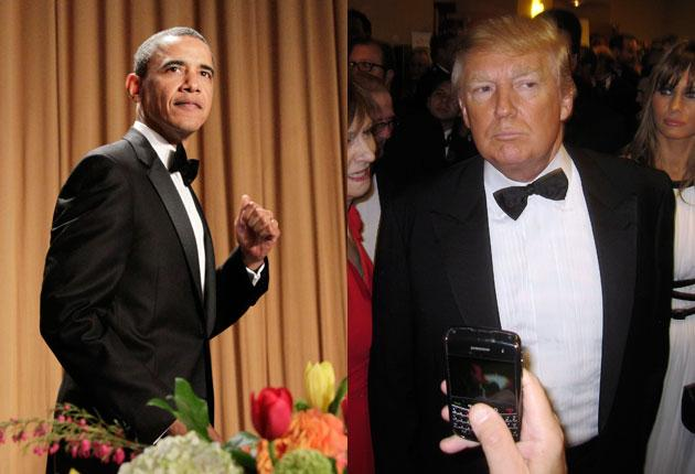 Barack Obama, left, tore apart Donald Trump, right, at the Washington press dinner