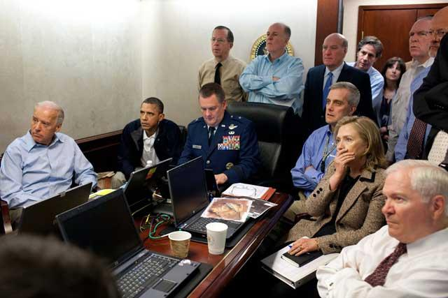 View to a kill: Barack Obama and White House officials watch the raid on Osama Bin Laden's retreat