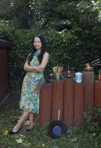Huang with her Chinese cleaver which she says she couldn't live without