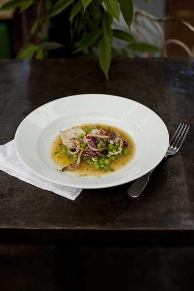 Summery and light: Squid with peas and sage
