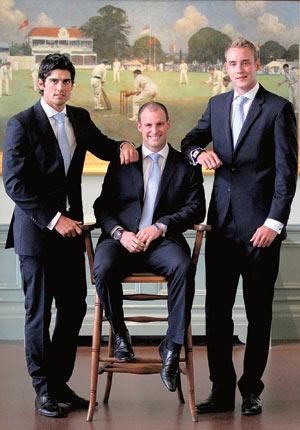 From left: ODI captain Alastair Cook, Test leader Andrew Strauss and T20 skipper Stuart Broad in the Lord's Long Room yesterday