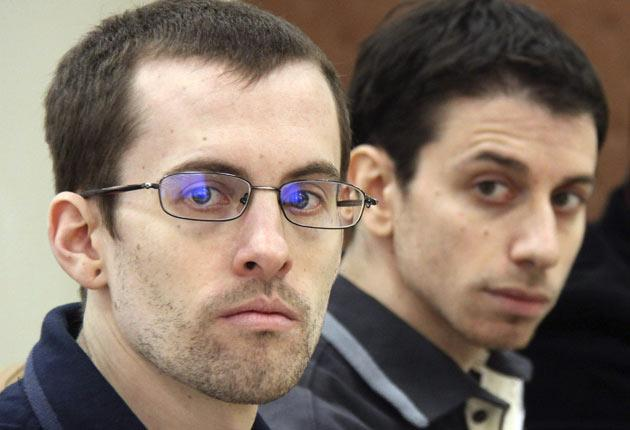 Shane Bauer, left and Joshua Fattal face trial in Iran in days