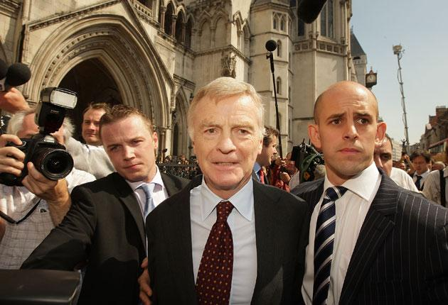 Max Mosley after winning his legal action against the News of the World in 2008