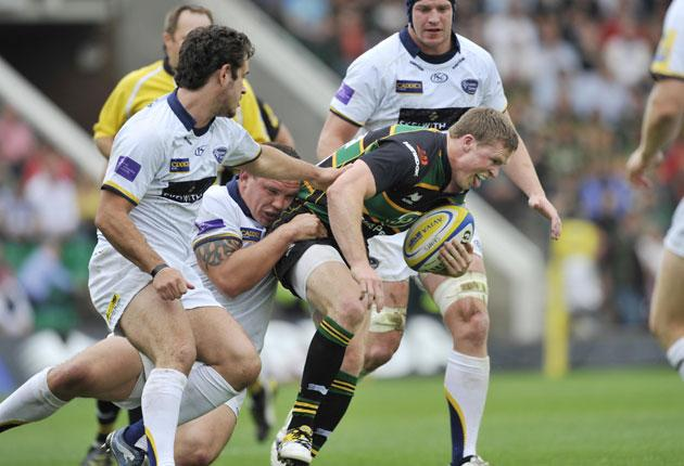 Northampton winger Chris Ashton ploughs on during a win which brings hope of a double