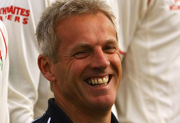 Peter Moores is all smiles after Lancashire's twirlers - Keedy and Kerrigan - spun them to the top of the table with a win over Warwickshire