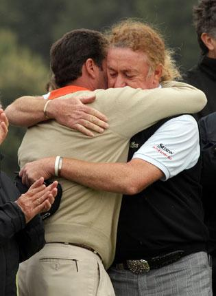 Ballesteros's compatriots Jose Maria Olazabal (left) and Miguel Angel Jimenez