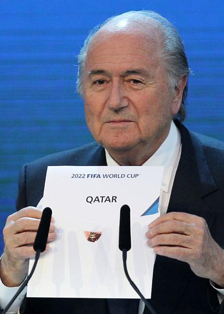 The moment Fifa president Sepp Blatter revealed Qatar as winners of the 2022 World Cup bid