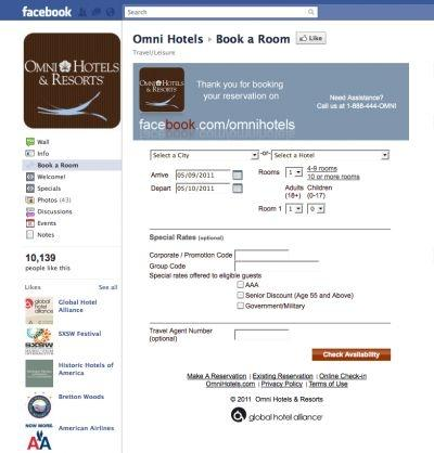Booking a room on Facebook is now possible with Omni Hotels.