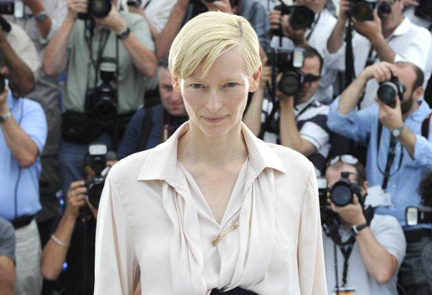 Tilda Swinton, who plays Kevin's mother, Eva, poses for photographers at Cannes yesterday