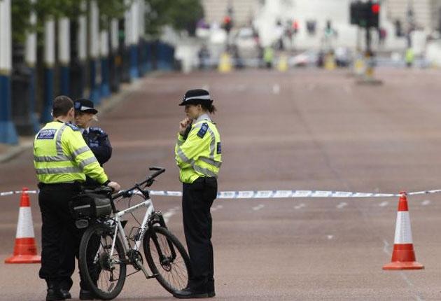 Amid increased police activity across London, areas around the Mall were cordoned off for several hours