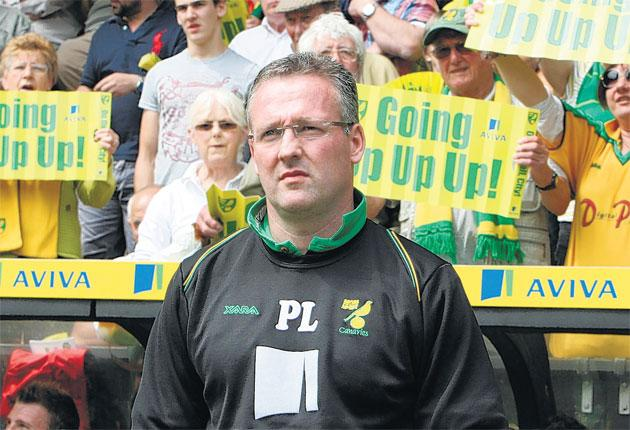 Paul Lambert led Norwich to promotion back to the Premier League this season