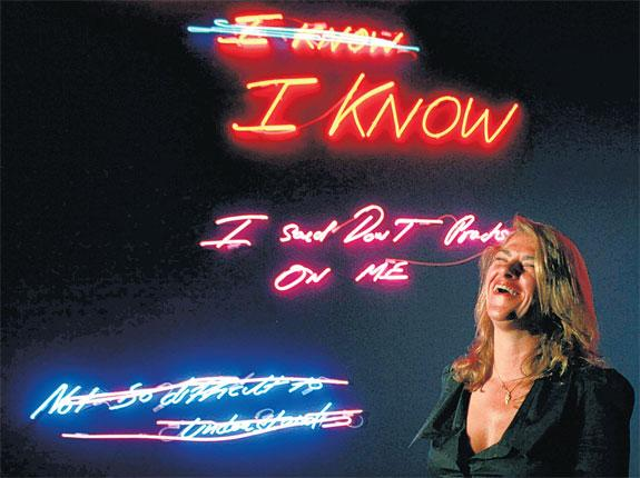 Tracey Emin with neon work