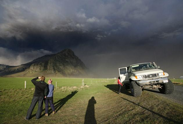Grey Skies: Eyjafjallajokull volcano, pictured last year when it was spewing plumes of ash