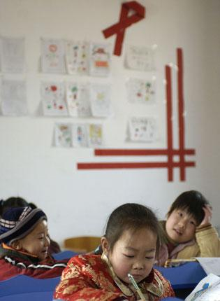 Aids orphans in their classroom in Linfen, Shanxi province