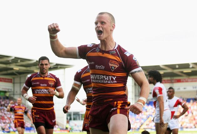 Stand-off Kevin Brown was in superb form for Huddersfield yesterday, running in two tries