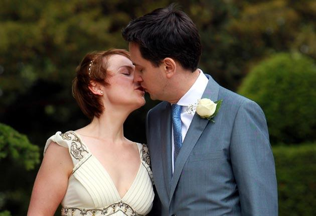 Ed Miliband and his wife Justine after their wedding
