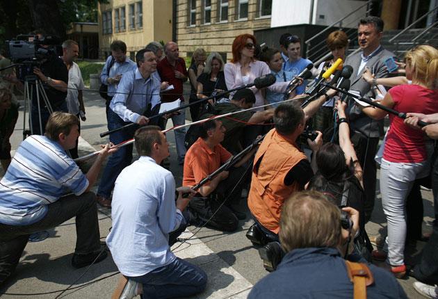 Darko Mladic speaks outside the Belgrade court yesterday