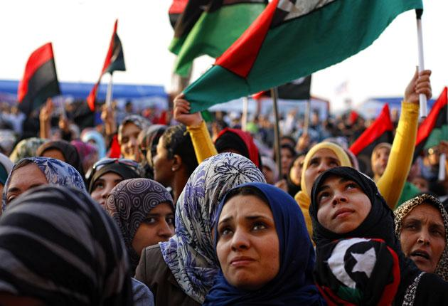 Women in Benghazi earlier this year, protesting against the rape of a young woman in Tripoli