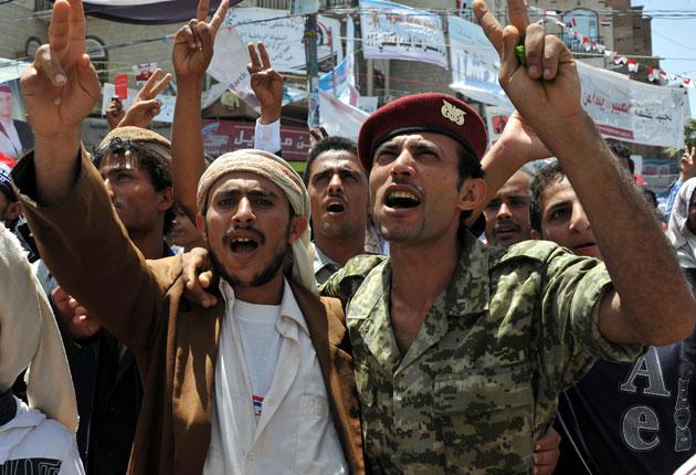 Protesters demand the departure of President Saleh yesterday
