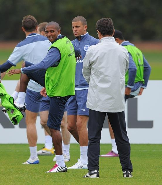 Ashley Young trains with the England squad