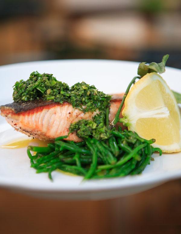 Wild salmon with salsa verde and samphire