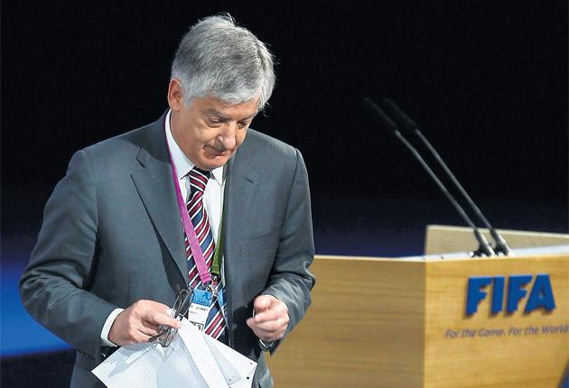 FA Chairman, David Bernstein leaves the stage after speaking at the Fifa Congress