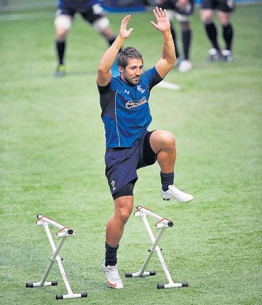 Strictly Come Dancing? Gavin Henson enjoys a Wales training session